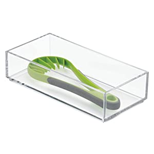 "InterDesign Clarity Kitchen Drawer Organizer for Silverware, Spatulas, Gadgets - 4"" x 8"" x 2"", Clear"