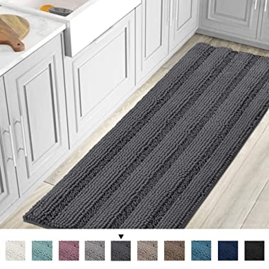 Striped Luxury Chenille Bathroom Rug Mat Runner Oversized 59x20 Inch Extra Soft and Absorbent Shaggy Rugs Dry Extra Long Plush Carpet for Bathroom/Kitchen Machine Washable, Grey