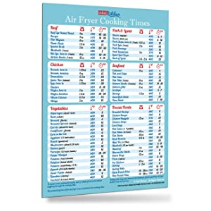 "Must-Have Air Fryer Accessories Air Fryer Cooking Times Big Magnet 8""x11"" (76 Food Types) Big Text Cheat Sheet Kitchen Cooking Hot Air Frying Cook Time Chart Guide Recipes CookBook Reference Useful Holiday Birthday Day Gift for Dad Son Husband Wife Mom Daughter Girl Friend (Light Blue)"