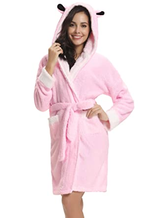 Image Unavailable. Image not available for. Color  Aibrou Women s Plush  Hooded Bathrobe Soft Warm Fleece Fun Robe Sleepwear w Pockets cc6ce6477