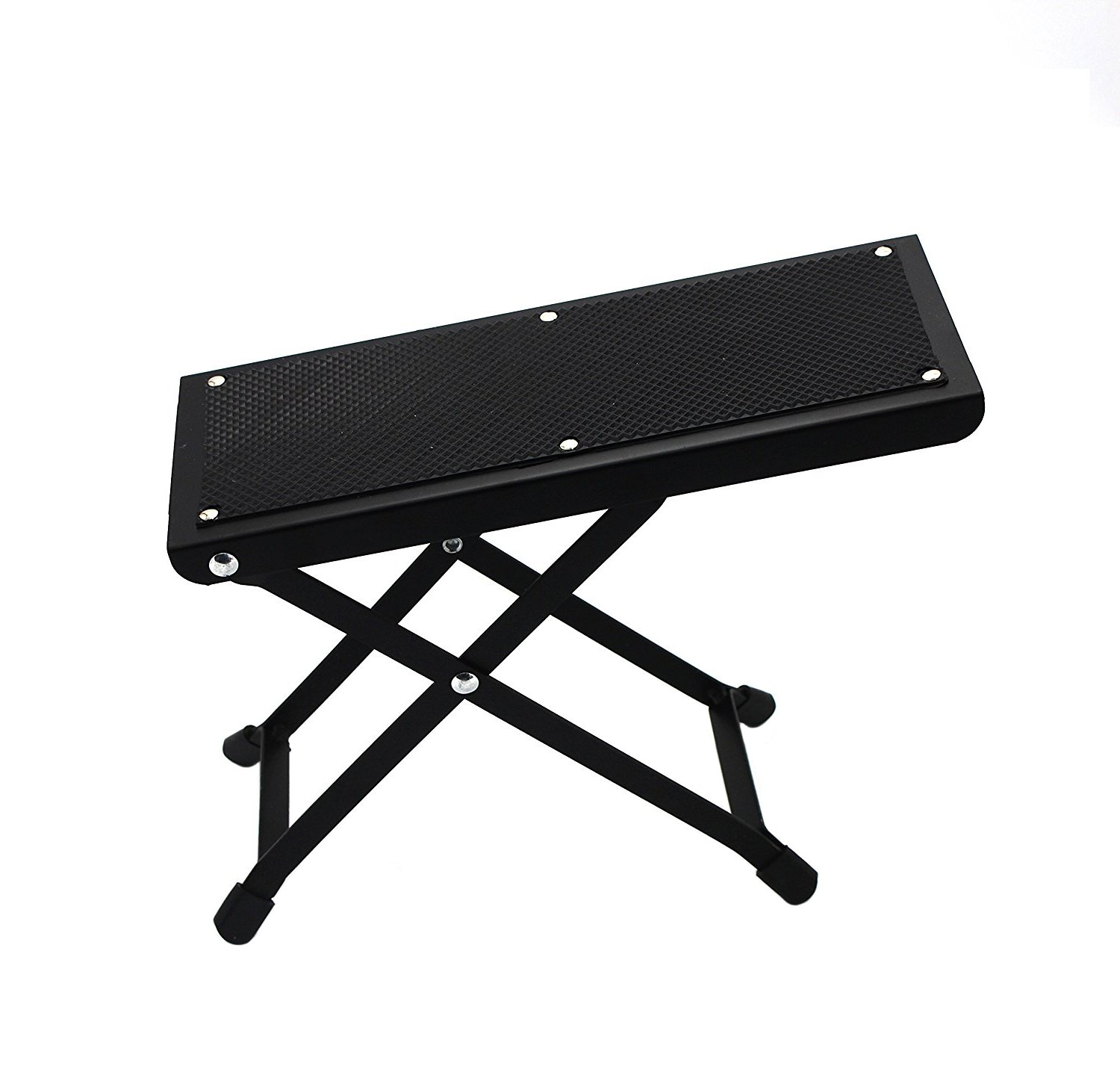 Timiy Adjustable Metal Guitar Footstool Guitar Foot Rest with 4 Fixed Height Positions Non-slip Rubber Designed Black