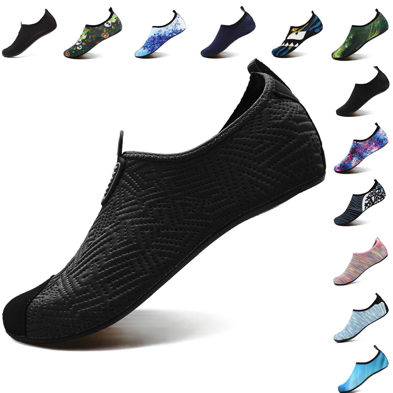 VIFUUR Footwear Indoor Slipper Yoga Sock Shoes Comfort Water Shoes for Men Women C Black 38/39