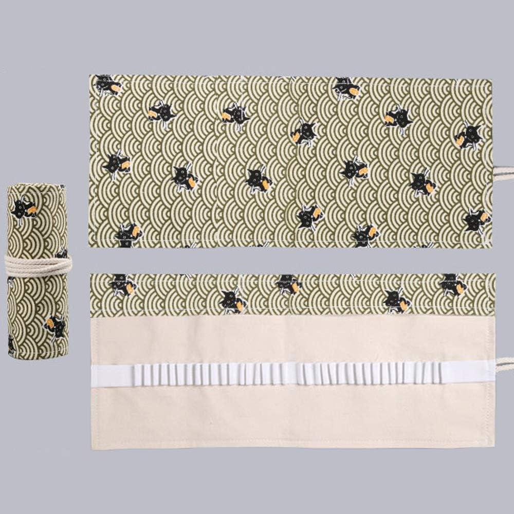 36 slots behone 2 pi/èces Sac a Crayon de Toile Toile Sac de Pinceaux Cases Couleur Sacs Organiseurs Pour stylo Trousse de Crayons de Couleurs Sac Multi-usages Enroulable Pouch pour /école