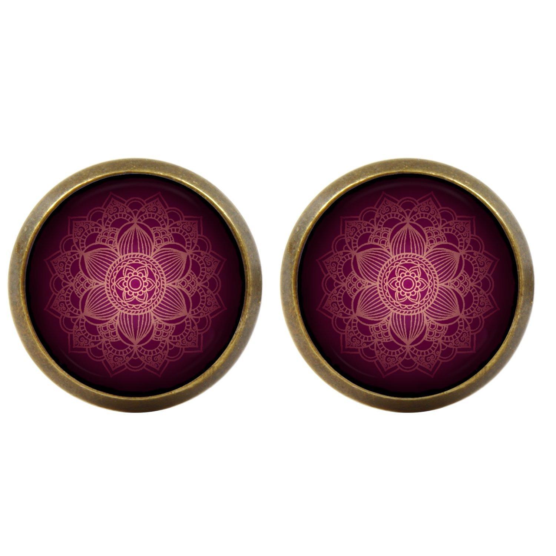 Handgemacht Mandala filigran rotlila Cabochons Ohrstecker bronzefarbende Fassung 12mm