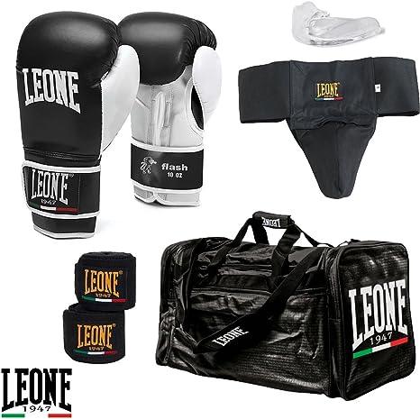 Leone 1947 - Kit de boxeo/kick boxing, para principiantes, compuesto por guantes, bandas, protector genital, protector bucal y bolsa de gimnasio Talla:L: Amazon.es: Deportes y aire libre