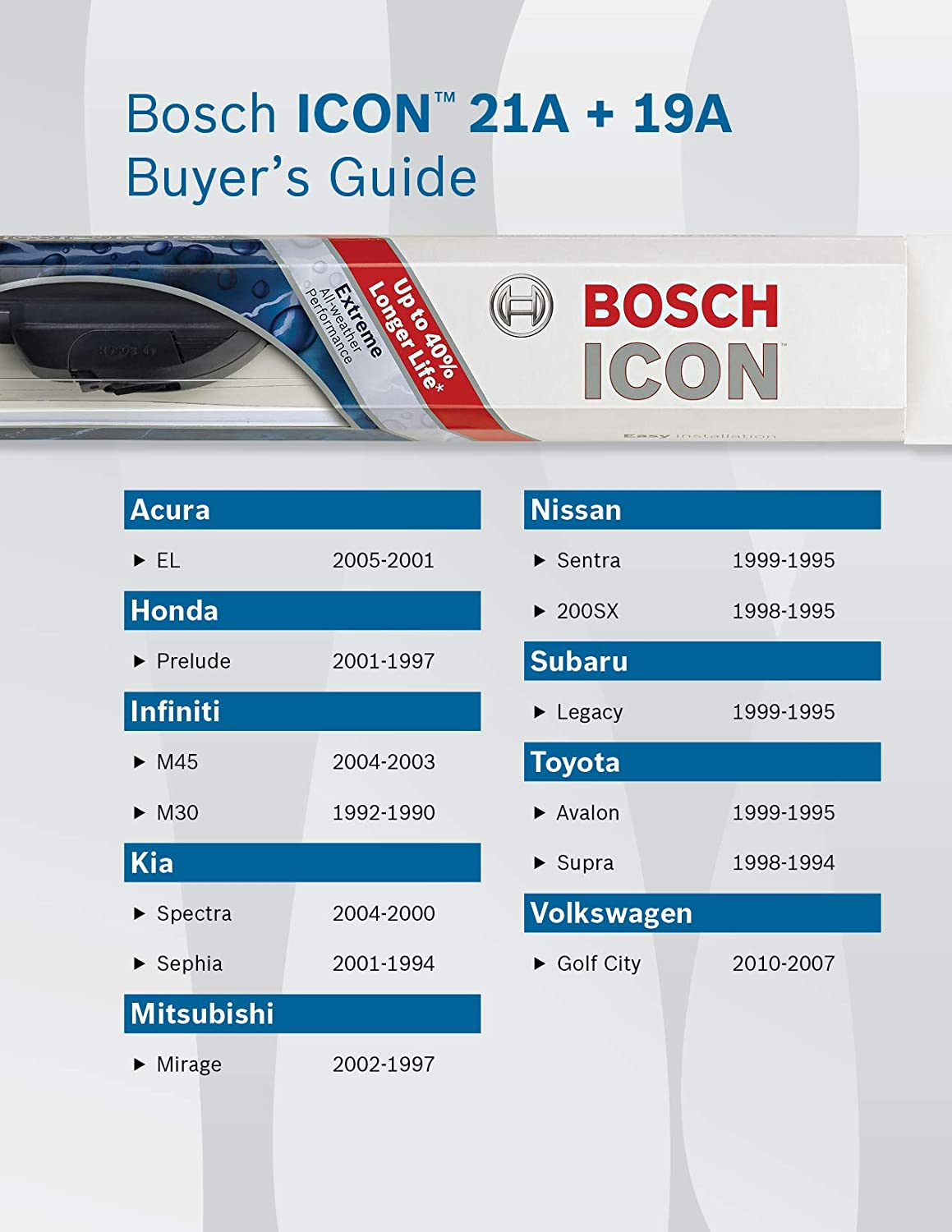 Up to 40/% Longer Life Bosch ICON 28OE Wiper Blade 28 Up to 40/% Longer Life 28 Pack of 1 Pack of 1 Packaging may vary Packaging may vary