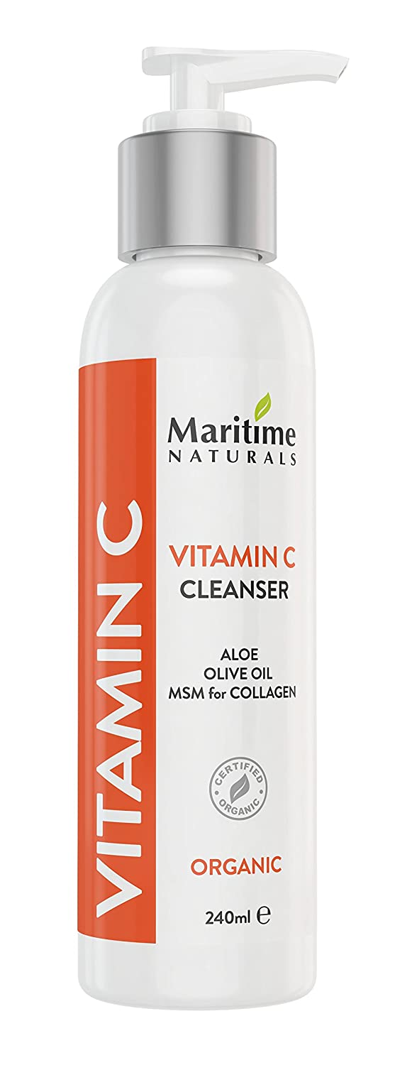All Canadian Vitamin C Facial Cleanser - Anti Aging, Breakout and Wrinkle Reducing Face Wash for Clear and Reduced Pores - With Organic and Natural Ingredients - Suitable for Oily, Dry and Sensitive Skin Maritime Naturals