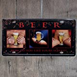 Original Vintage Design Beer Tin Metal Wall Art Signs, Thick Tinplate Print Poster Wall Decoration