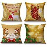 18 x 18 inch Christmas Decorative Pillow Cover Deer Sock Snowman Square Pillow Covers Set of 4 (Christmas)