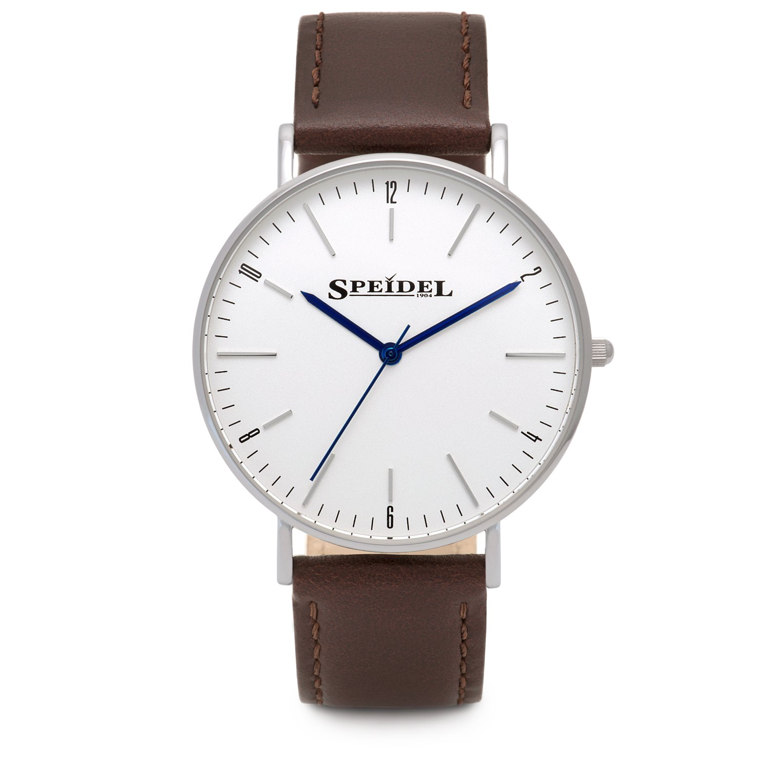 Speidel Men's Slim Watch with Simple Classic Pearl White Dial, Ultra Thin Stainless Steel Case, 3 Hand Quartz Movement, Genuine Brown Leather Band and Water Resistant to 99ft