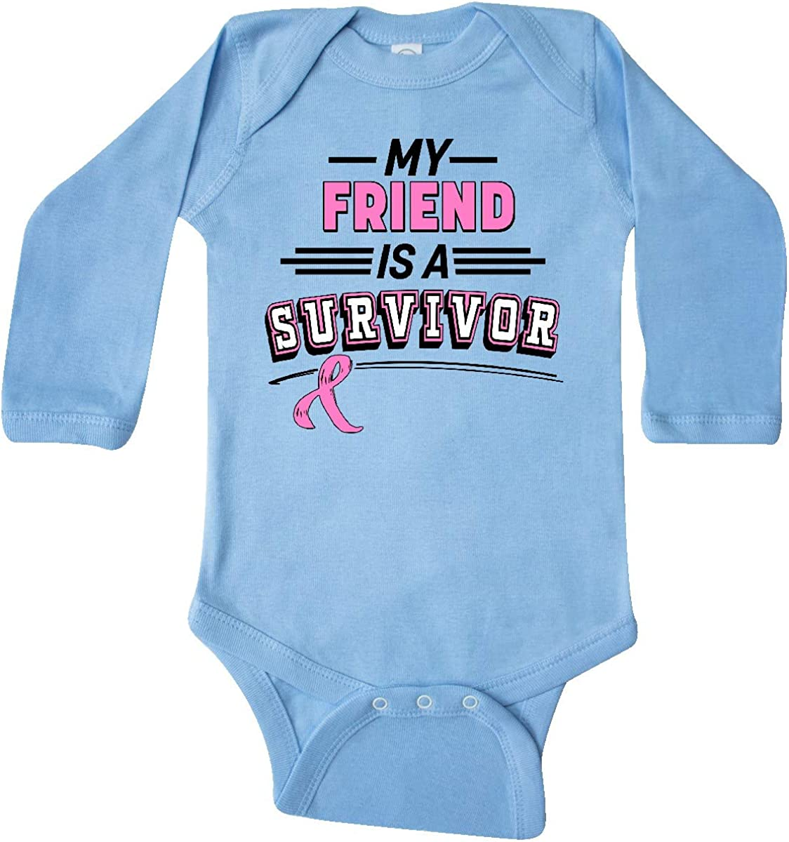 inktastic My Friend is a Survivor Breast Cancer Awareness Long Sleeve Creeper
