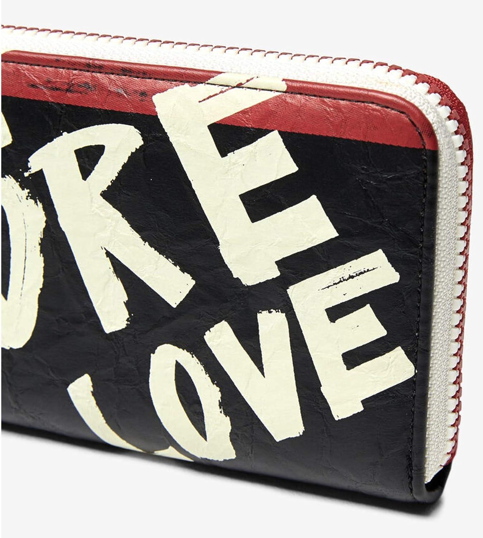 Desigual Arty Message Craft Zip Around Long Wallet Negro