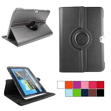 COOVY® Funda para Samsung Galaxy Note 10.1 GT-N8000 GT-N8010 GT-N8020 Smart 360º Grados ROTACIÓN Cover Case Protectora Soporte | Color Negro