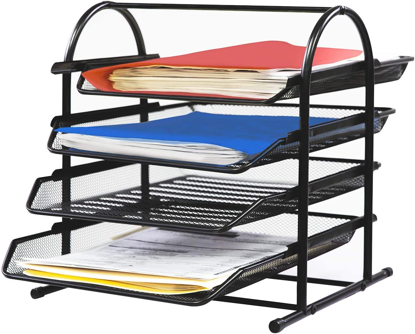 Jerry & Maggie - Steel Desk Organizer Office File Folder Rack File Folder Holders Bookcase Desktop Bookshelf - Multi Function Sturdy Simple Organizer Tray Shelf Steel Net Surface | Black