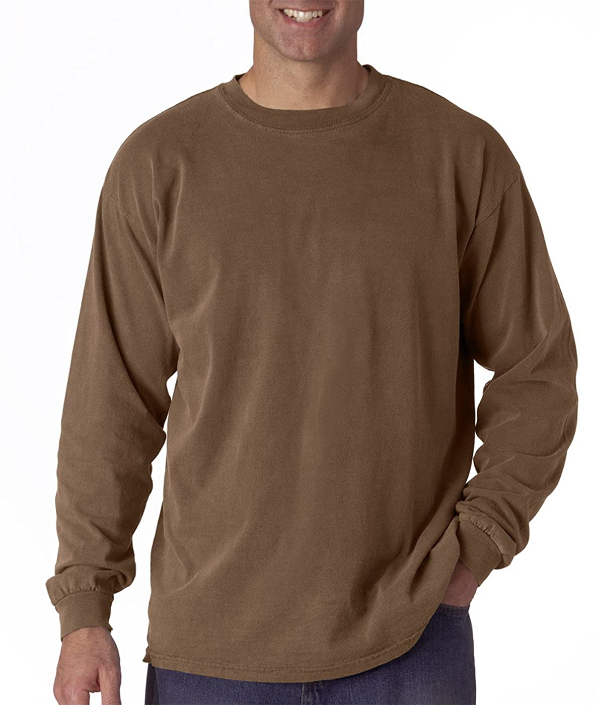 aed2120fc Amazon.com: Comfort Colors 6014 - 6.1 Ounce Ringspun Cotton Long Sleeve T- Shirt: Clothing