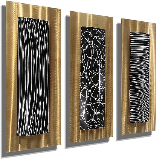 Statements2000 3D Metal Wall Art Accent Sculpture Modern Gold Black by Jon Allen