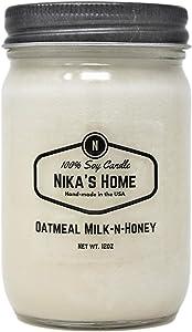 Nika's Home Oatmeal Milk-n-Honey Soy Candle - 12oz Mason Jar