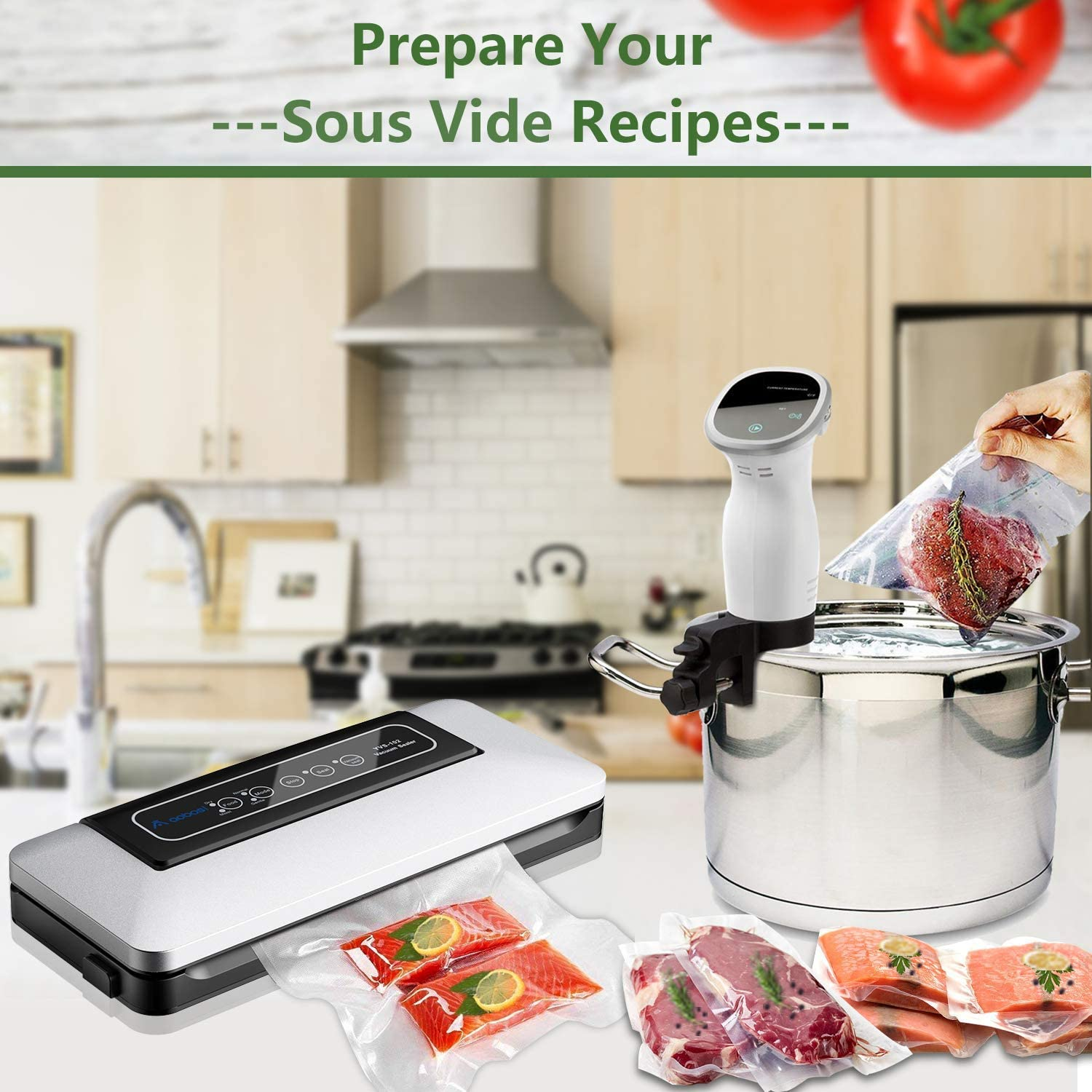 Aobosi Vacuum Sealer 5 in 1 Automatic Food Seal for Dry and Damp Food, with  4E5Eq