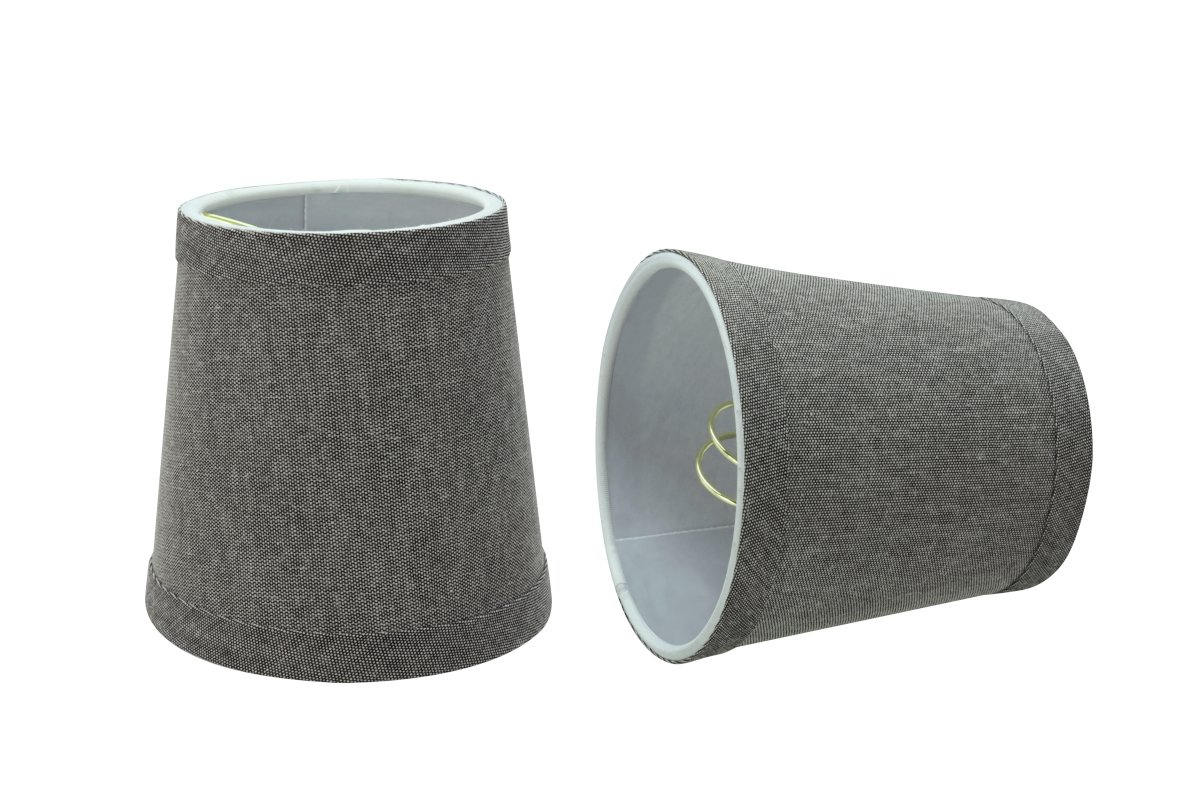 Aspen Creative 32716-2 Small Hardback Empire Shape Chandelier Set (2 Pack), Transitional Design in Grey, 4'' Bottom Width (3'' x 4'' x 4'') Clip ON LAMP Shade