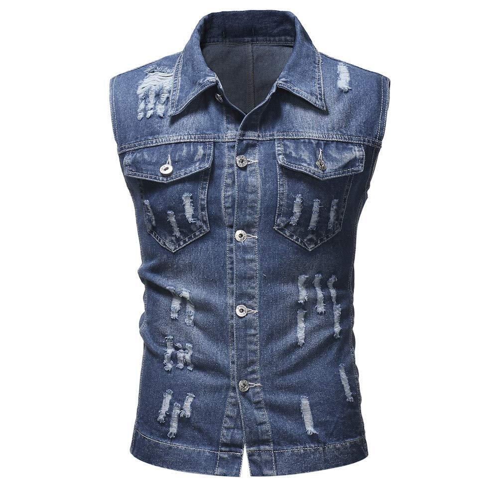 Chaleco de Mezclilla de los Hombres, ♚ Absolute otoño Invierno destruyó Chaqueta de Mezclilla Vintage Chaleco Blusa Top t-Shirt Coat: Amazon.es: Ropa y ...