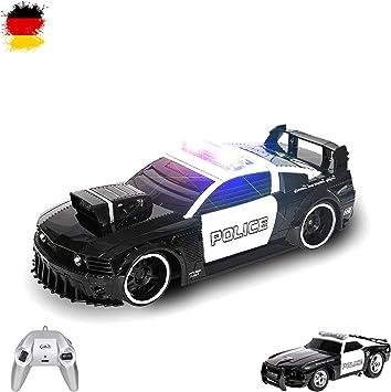 Coche de policía teledirigido de U.S Police Design con luz y sirena, incluye control remoto: Amazon.es: Juguetes y juegos
