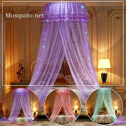 LED Light Princess Dome Mosquito Net Mesh Bed Canopy Bedroom Decoration Luxury Princess Bed Canopy Mosquito Net for Girls Teens or Over Baby Crib in Nursery