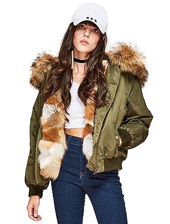 dd8c59e54 Melody Women's Luxurious Winter Real Fox Fur Liner Bomber Jacket ...