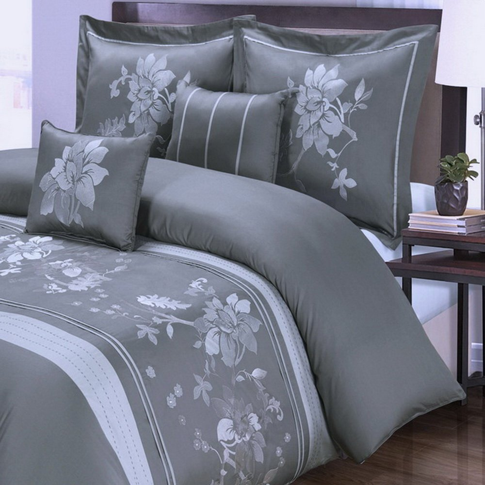 Duvet Cover Set and Pillowcases 5 Piece Luxury 100 Cotton Zipper Closure Embroidered Floral Flowers Pattern Bedding - with 4 Corner Ties - Full/Queen Size (90''x92'') Grey