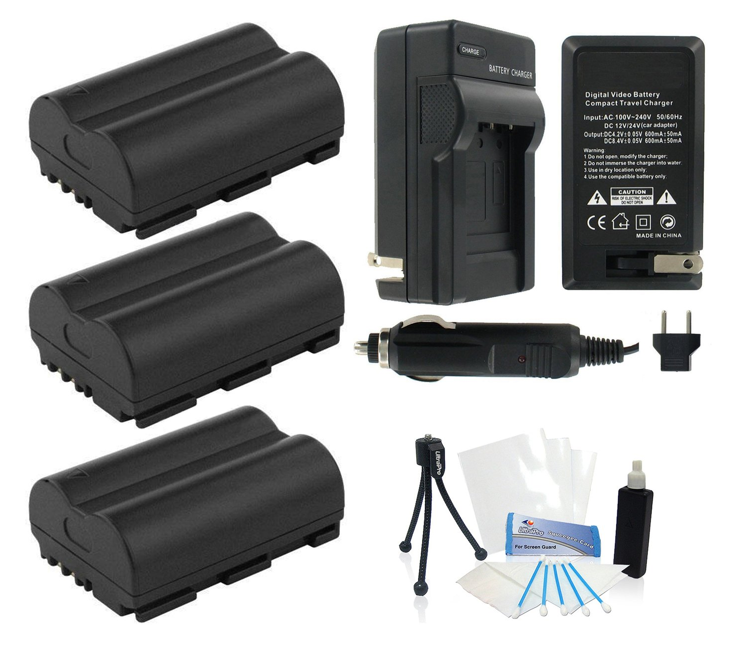 UltraPro 3-Pack of BP-512 High-Capacity Replacement Batteries with Rapid Travel Charger for Select Canon Digital Cameras - UltraPro Bundle Includes: Camera Cleaning Kit, Camera Screen Protector, Mini Travel Tripod