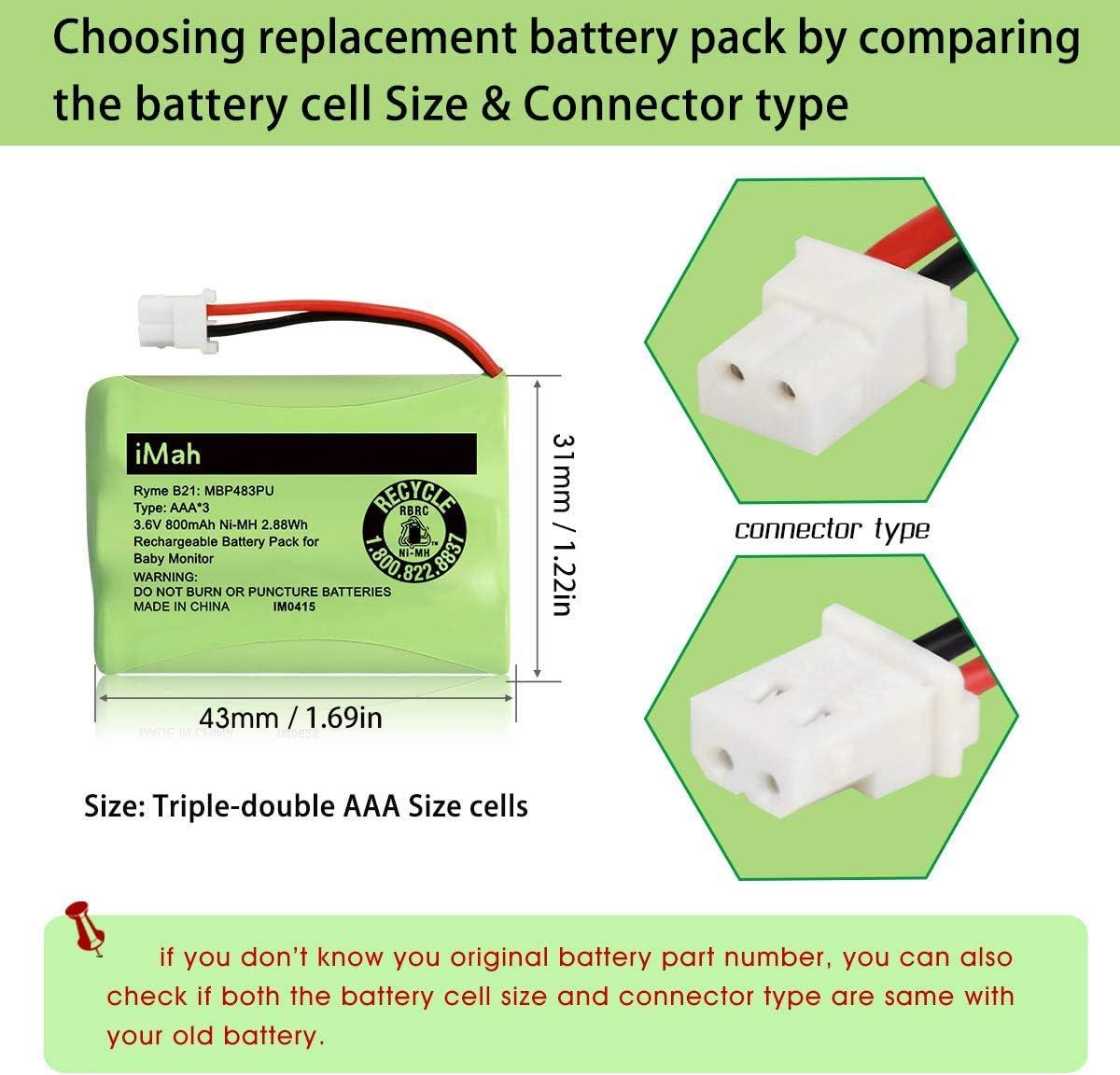 VTech BT207695 VM312 VM3251 VM3252 VM3261 2-Pack iMah Ryme B21 Battery Compatible with Motorola Baby Monitor MBP33XLPU MBP481PU MBP482PU MBP483PU only fits MBP33S MBP36 MBP36S Newer 800mAh Version