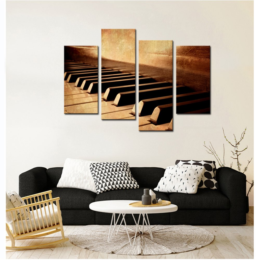LevvArts – 4 Panels Wall Art Sepia Tone Piano Keys Pictures Print on Canvas Instrument Abstract Canvas Painting Giclee Print with Wood Frame,Modern Home Decor