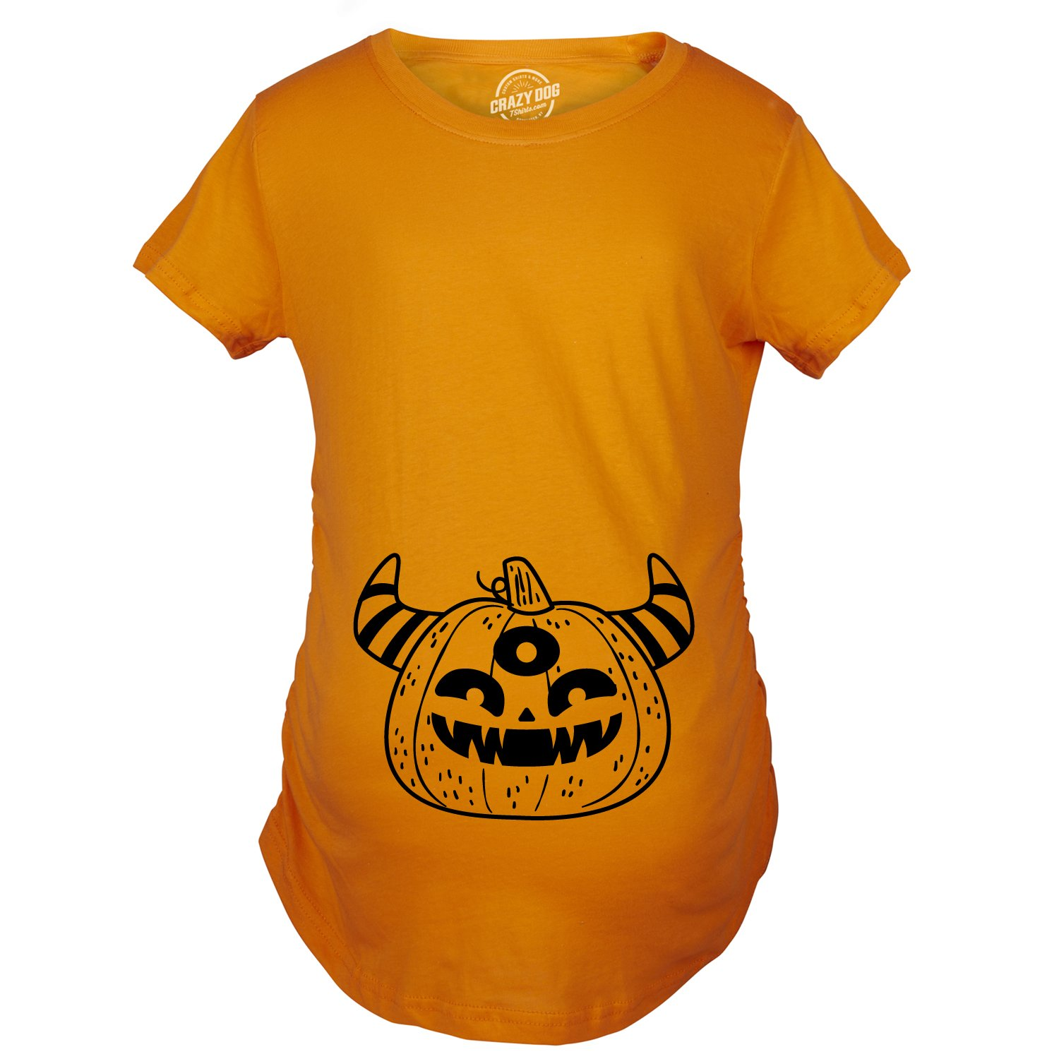 Maternity Monster Pumpkin Pregnancy Shirt Funny Halloween Tee for Baby Bump -XL