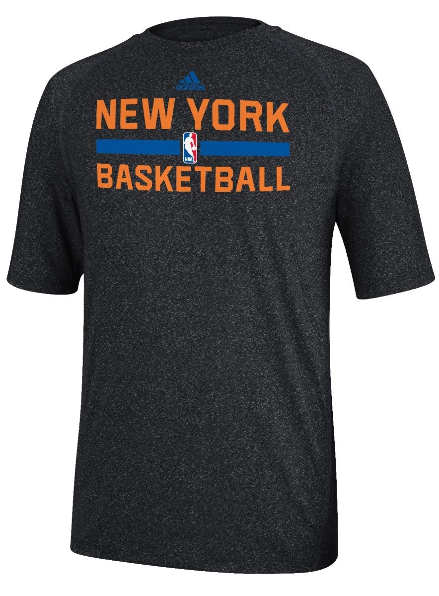 cheap for discount 0729a 5afc5 adidas New York Knicks Heather Black Climalite Practice Short Sleeve Shirt