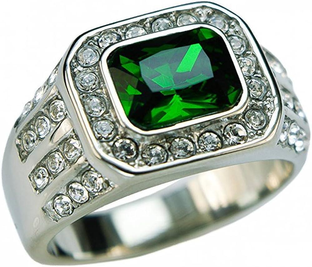 Bague Homme Acier Oxyde de zirconium transparent et vert ISADY Chevali/ère Vincent