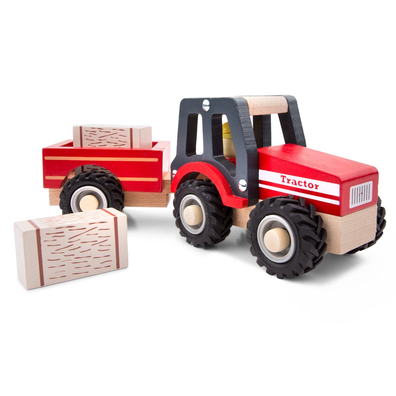 Holzspielzeug New Classic Toys 11942 Traktor mit Anhänger und Milchkannen Fahrzeuge