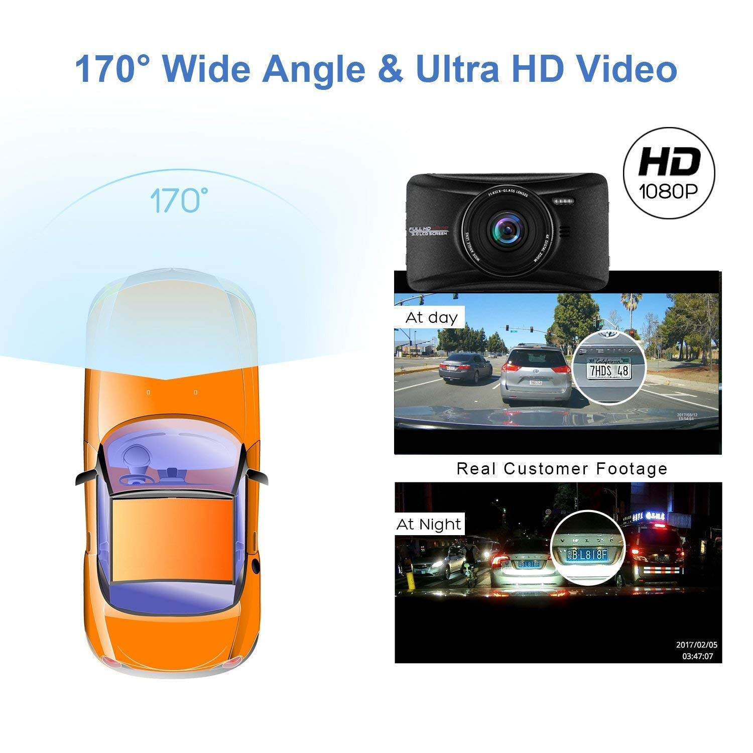 Parking Guard WDR 3 1080P HD Car Recorder 170 Wide Angle Night Vison Dashboard Camera with G-Sensor Loop Recording OldShark Dash Cam with 32GB Card