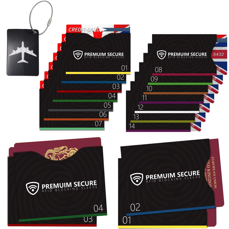 f66d000ac131a 19 Pack 14 Kreditkarteninhaber und 4 Reisepass-Protektoren 1 Kofferanhänger  RFID Blocking NFC Schutzhüllen für