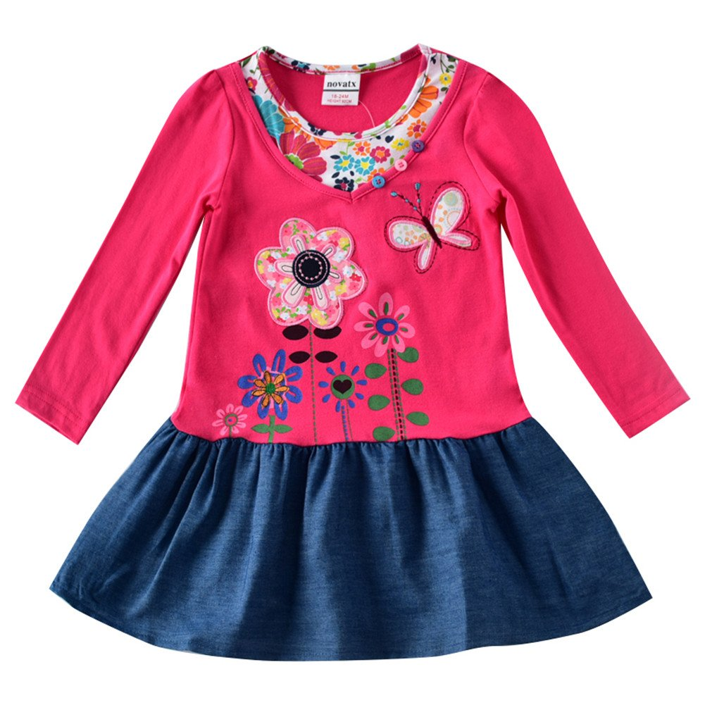 Novatx Long Sleeve Cotton Flower Girl Dress H7121 fuchsia H7121-fuchsia