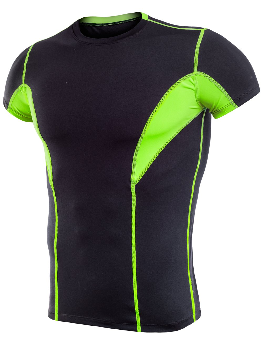 Lavento Men's Cool Dry Compression Shirts Short-Sleeve Workout T-Shirts (1 Pack-17105 Black/neon Green,3X-Large)