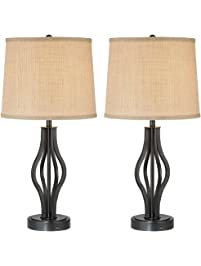 Heather Set Of 2 Iron Table Lamps With USB Ports