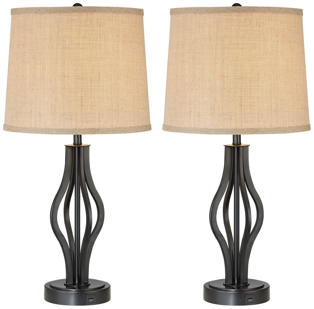 Heather Iron Table Lamps with USB Ports Set of 2