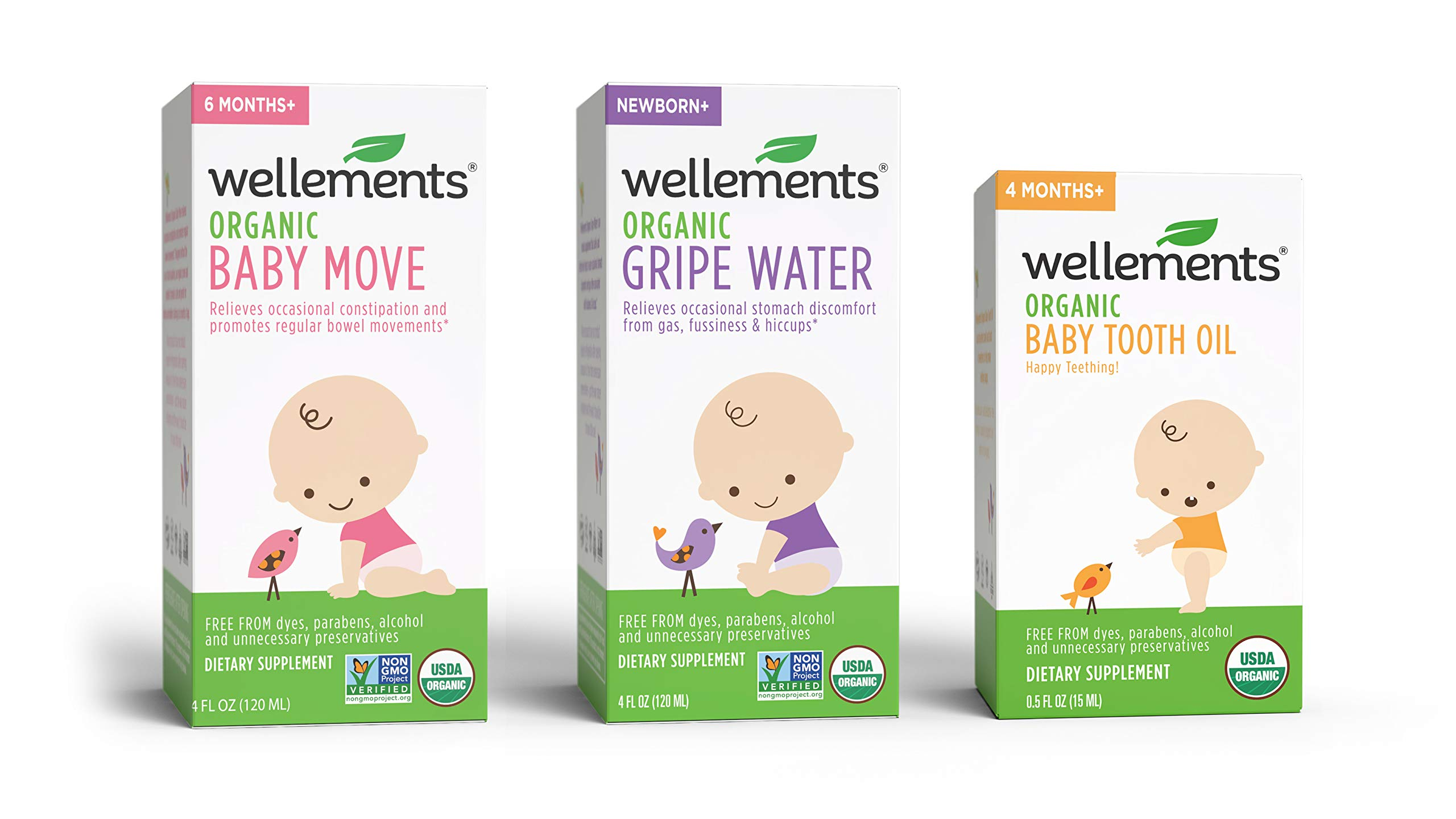Wellements Organic Baby Remedy Essentials Pack of 3( (1) Baby Move 4 Fl Oz, (1) Baby Tooth Oil 0.5 Fl Oz , (1) Gripe Water 4 Fl Oz ) by Wellements