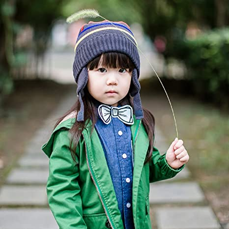 a99f61f22484c Amazon.com  Connectyle Boys Kids Striped Knit Beanie Hat with Earflap Warm  Cuff Winter Cap  Clothing