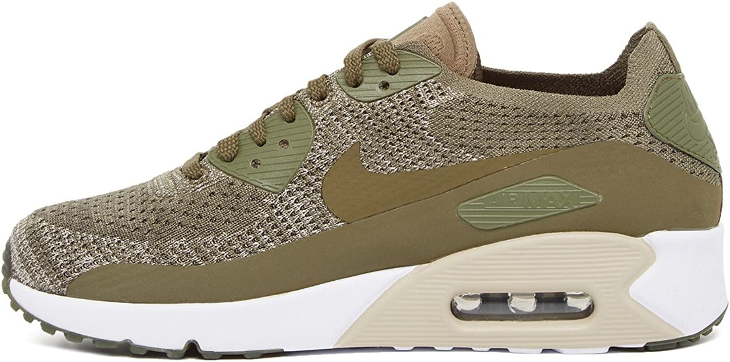 Nike Mens Air Max 90 Ultra 2.0 Flyknit Running Shoes Fashion Sneakers, Medium Olive Size 9.5 US