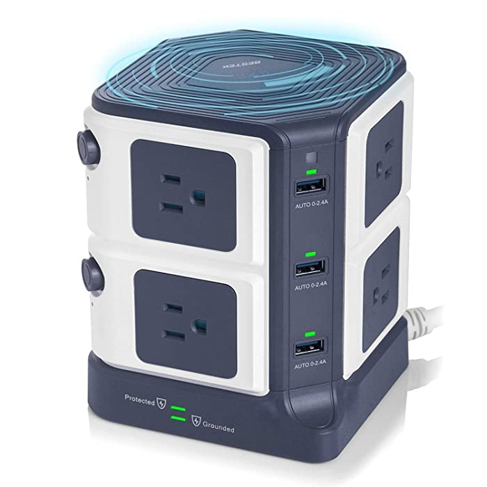 USB Power Strip with Wireless Charger BESTEK 8-Outlet Surge Protector and 40W 6-Port USB Charging Dock Station,1500 Joules,ETL Listed,Dorm Room Accessories