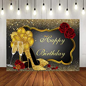 Glitter Gold Happy Birthday Backdrop Red Rose Floral Golden Balloons Heels Champagne Glass Background for Women Birthday Party Decorations Birthday Party Supplies 7x5ft Vinyl