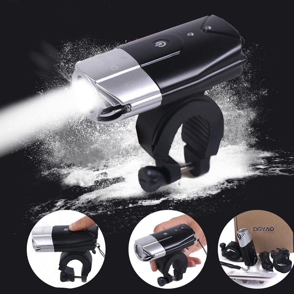 DGXINJUN USB Rechargeable Super Bright Bike Lights 3 Modes T6 L2 Bike Bicycle Headlights 2000mAh 1000 Lumen Waterproof Flashlight Reflectors