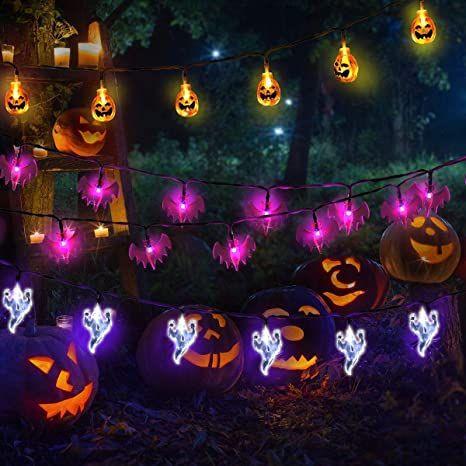 new product b33c7 5f5df Halloween Lights Outdoor Halloween String Lights 3Pack 23ft 60 LED Pumpkin  Ghost Bat String Lights Battery Operated Halloween Decorations for Outdoor  ...