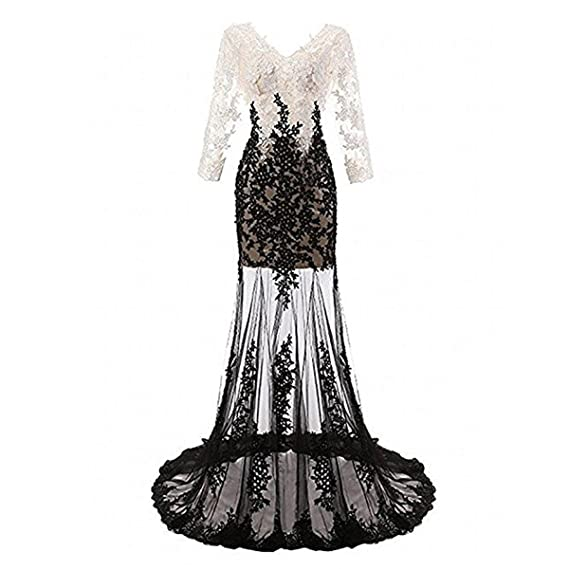 JiaYi Sexy V Sequin Lace Long Sleeves Evening Dress White Black Prom Gown Sheer Prom Dress