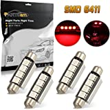 Partsam 42mm Festoon LED Light Bulbs LED Interior Lights Map Dome Lights Bulbs 211-2 578 569 Festoon LED Bulb 4-SMD 12V- Red (Pack of 4)